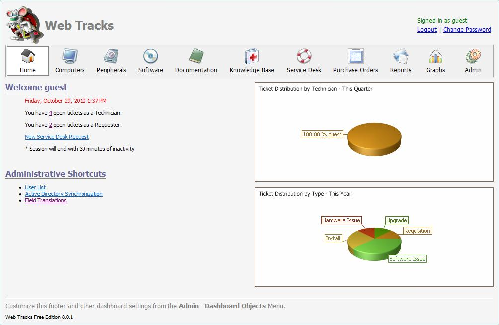 Web Tracks 2011 - Help Desk, Asset Management, PC Inventory, Software Audit - Browser based Help Desk, PC Inventory and Asset Management Software for IT